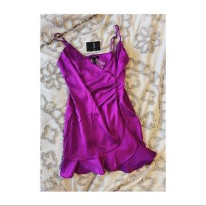 NWT Forever 21 Purple Satin Dress With Buttons.